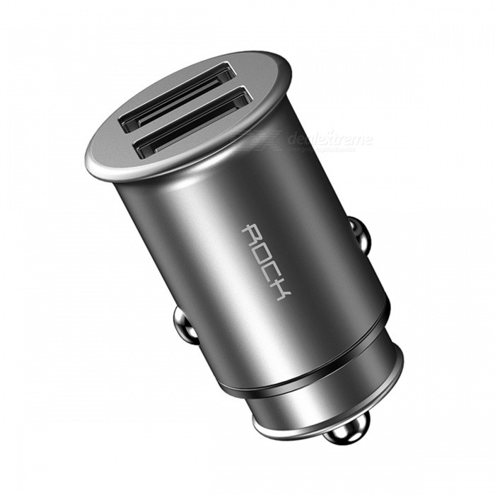 Buy Rock 5V 4.8A Dual USB Car Charger Fast Charge USB Travel Car Phone Charger for IPHONE Samsung Huawei Xiaomi - Silver with Litecoins with Free Shipping on Gipsybee.com