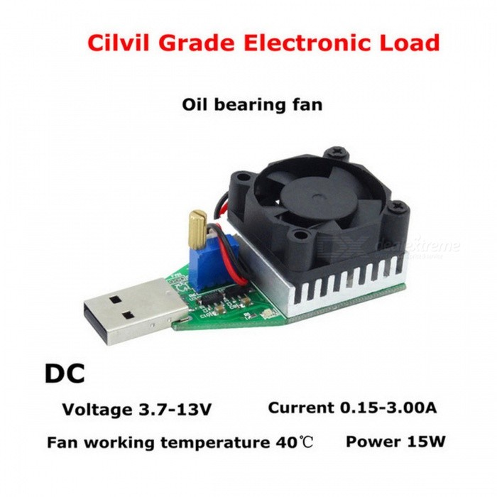 RD Industrial And Civil Grade Electronic Load Resistor USB Interface Discharge Battery Test Capacity Fan Adjustable Current 15w