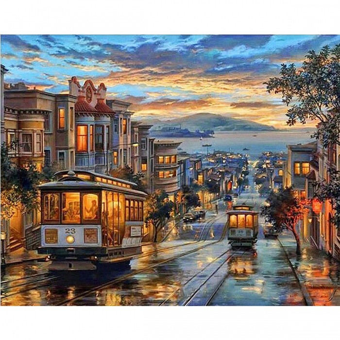GX8322 Europe Landscape Frameless Pictures DIY Painting By Numbers Wall Art Acrylic Painting on Canvas and Painted Home Decor