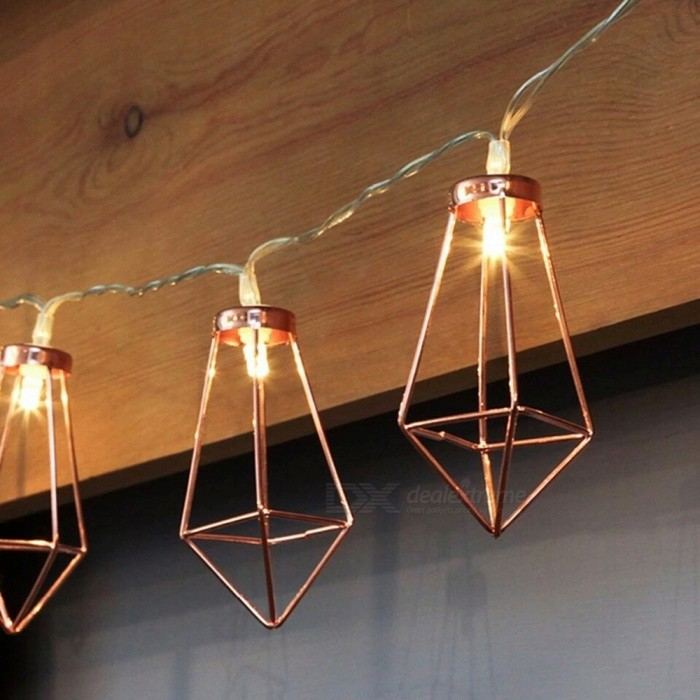 Retro Iron Diamond Style 10-LED String Light Lamp for Christmas Holiday Wedding Party Home Decoration