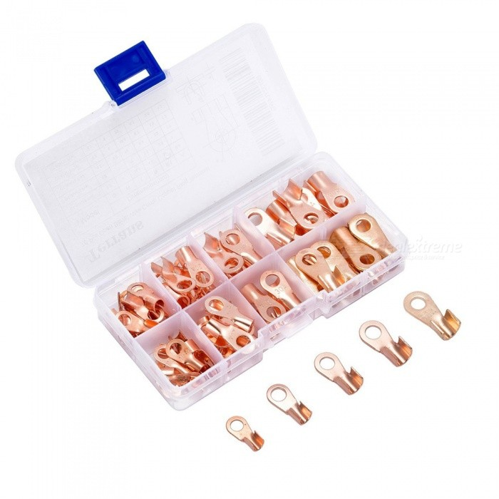 ESAMACT-70Pcs-Copper-Ring-Lug-Terminals-Kit-w-Storage-Box
