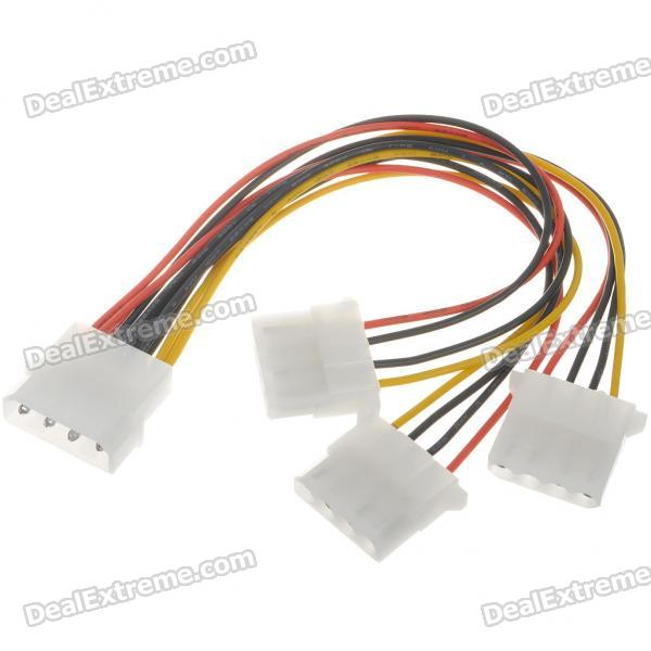 MOLEX 4-Pin 1-to-3 Splitter Power Cable - White + Multicolored (20cm)