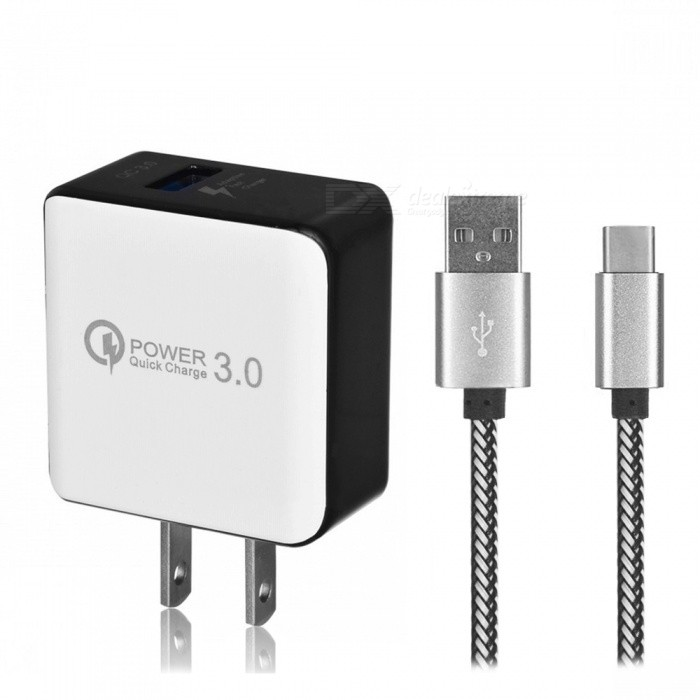 QC3.0 Fast Charging US Plug Charger + USB 3.1 Type-C Charging Data Cable for Samsung Galaxy S9  S9 Plus  S8  S8 Plus