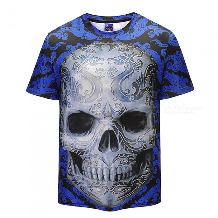 Buy 3D Skull Pattern Fashion Polyester Short-Sleeved T-Shirt for Men - Blue + Multicolor (XL) with Litecoins with Free Shipping on Gipsybee.com