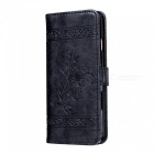 Dayspirit Oil Wax Flower Pattern Leather Case for IPHONE 6 - Black