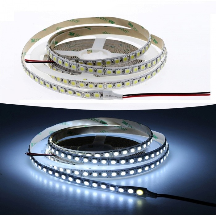 5M DC 12V 48W 600-SMD 5050 LED Flexible Double-Sided Adhesive LED Light Strip Cold White/Warm White  Light