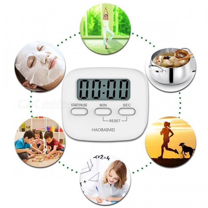 LCD Display Digital Kitchen Timer, Simple Operation, Minute Second Count Up  And Countdown   White