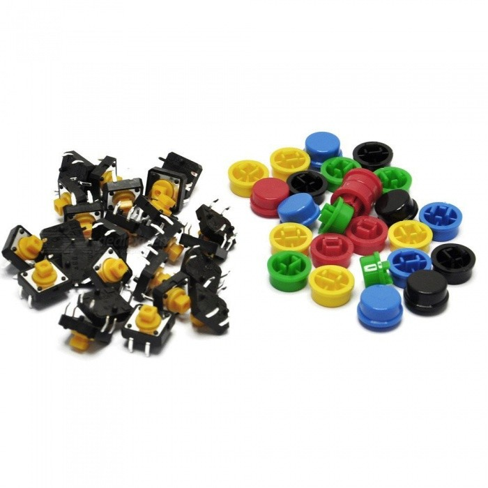 ESAMACT 25Pcs 12x12x7.3mm Momentary Tact Tactile Push Button Touch Switches 4 Pins SMD PCB with Caps