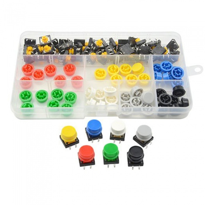 ESAMACT 98PCS 12mm x 12mm x 7.3mm Micro Momentary Tactile Push Button Switches + Key Caps