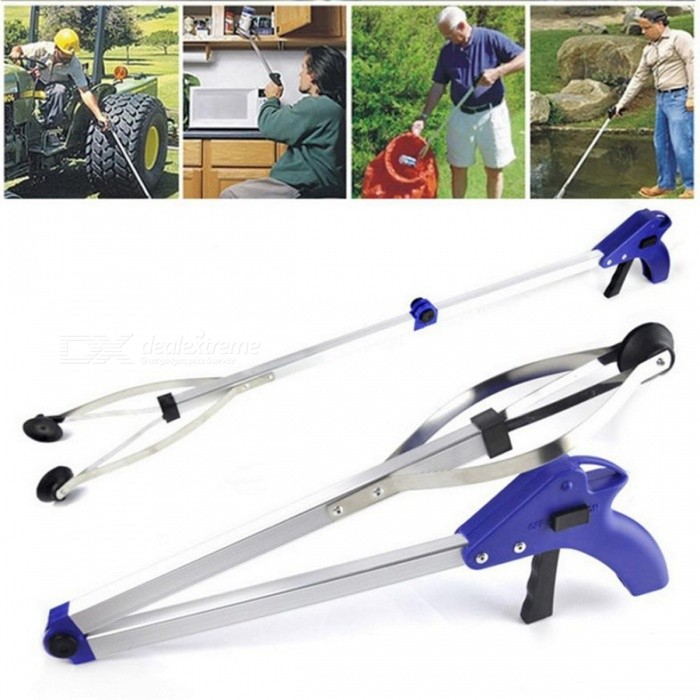 Foldable Garbage Rubbish Trash Pick Up Gripper Long Arm Hand Gripping Helping Tool - Blue