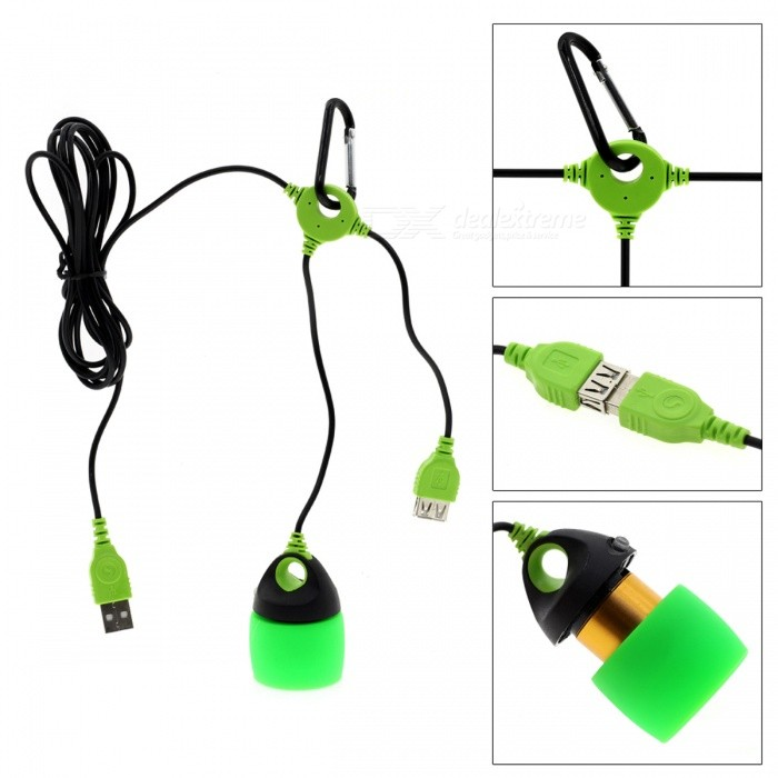 USB Powered Mini LED Portable Lantern Tent Light - Green