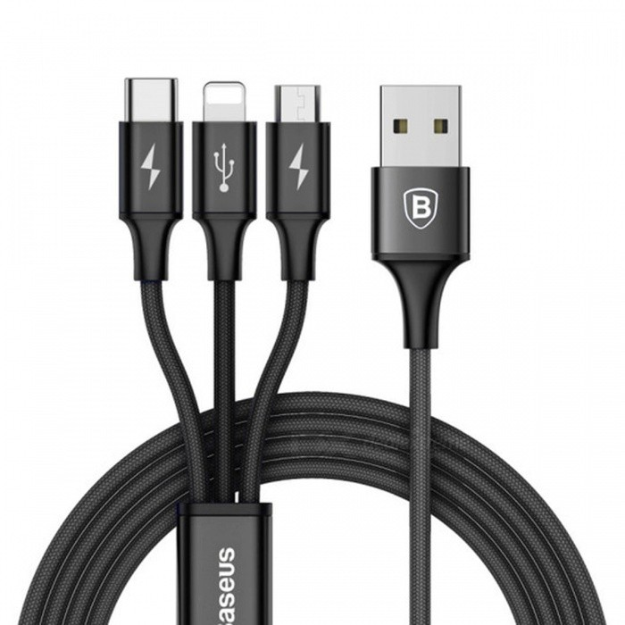 Baseus 3-in-1 3A Fast Charge Data Charging Cable with Micro USB + Lightning + Type-C Ports