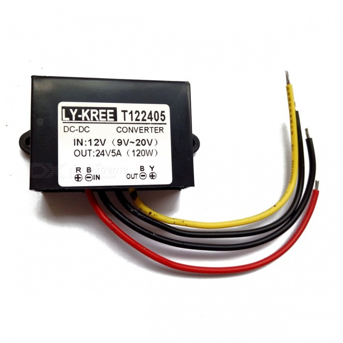 LY-KREE DC-DC 12V (9V-20V) To 24V 5A 120W Boost Module Car Power Converter
