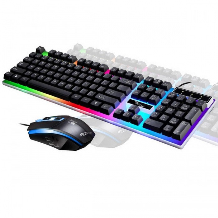 ZGB G21 USB Mouse + Wired Gaming Keyboard Mechanical Keyboard Feel Multicolor LED Backlight Set