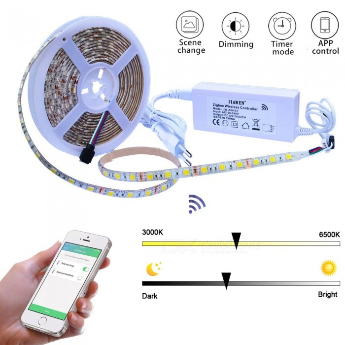 Jiawen Smart Home 300-LED 5050SMD LED Color Temperature Light Strip w/ Zigbee Controller