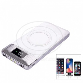 LCD Portable 10000mAh Power Bank Qi Wireless Charger with Dual USB for IPHONE X / 8 /8 Plus / Samsung / LG / Xiaomi