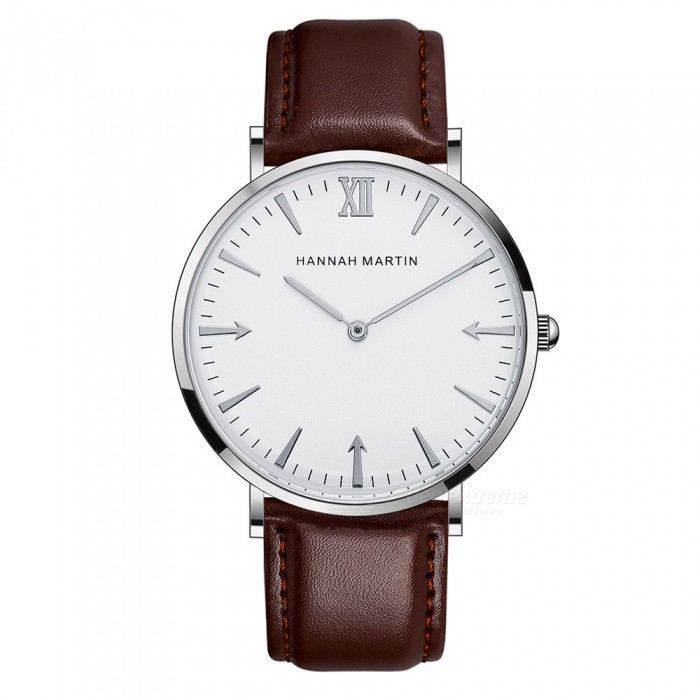 Hannah Martin JT40 Men's Ultra-thin Quartz Watch Japanese Movement 30m Waterproof PU Leather Strap Wrist Watch - Brown + Silver for sale for the best price on Gipsybee.com.