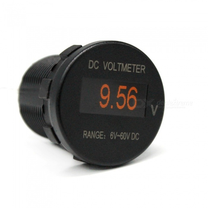 Mini OLED DC 6-60V Voltmeter for Car, Motorcycles, Yachts Modification - Black
