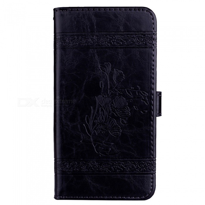 Dayspirit Oil Wax Flower Pattern Leather Case for Xiaomi Mi A1, Mi 5X - Black