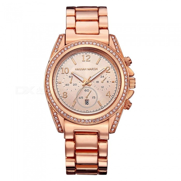 Hannah Martin 1107 Women's Fashion Stainless Steel Strap Quartz Watch with Date Display, 3 Decorative Dials