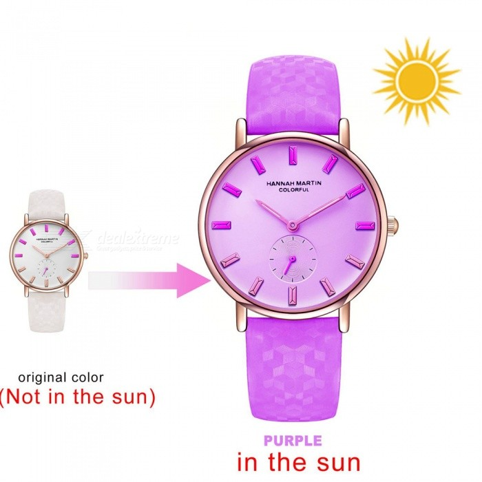 Hannah Martin BS32 Women's Quartz Watch Sunlight UV Sensing Color Changing Dial PU Leather Strap