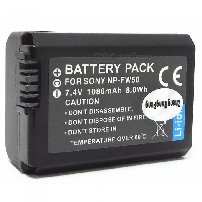 7.4V 1080mAh NP-FW50 Battery for Sony NEX-5 NEX-6 NEX-7 - Black