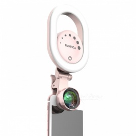 LIEQI-15X-Wide-Angle-Clip-On-Smartphone-Camera-Lens-w-Fill-In-Light-Pink