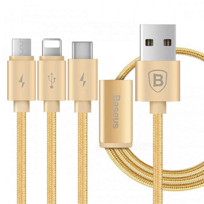 BASEUS 3-in-1 Multifunction USB to Micro USB + Lightning + Type-C Data Charging Cable for IPHONE / Samsung and More