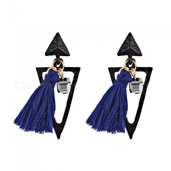 Bohemia Style Exaggerated Tassel Earrings for Women - Black + Blue (Pair)