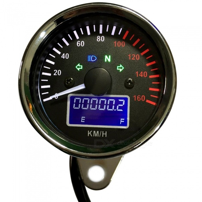 B3178 Universal Multifunction 12V Motorcycle Modification Tuning Meter  White Pointer with Speedometer + Fuel Gauge + Odometer