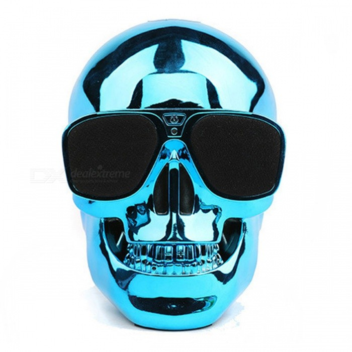 Buy ZHAOYAO Creative Cool Skull Style Wireless Bluetooth Super Bass Speaker - Blue with Litecoins with Free Shipping on Gipsybee.com