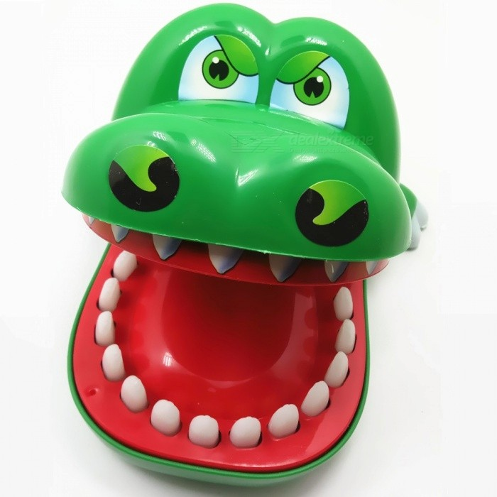 Strange Cartoon Crocodile Bite Finger Style Tricky Toy for Parenting Interactive Game Playing - Red + Green