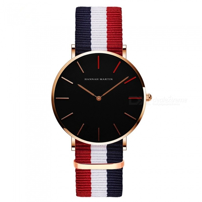 Hannah Martin 1230-HR36 Women's Ultra-thin Japanese Movement 30m Waterproof Nylon Stripe Strap Wrist Watch - Multicolor + Black for sale in Bitcoin, Litecoin, Ethereum, Bitcoin Cash with the best price and Free Shipping on Gipsybee.com