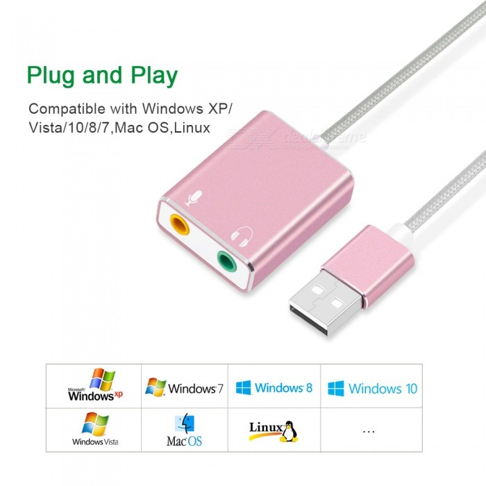 Buy Measy 7.1 External USB Sound Card, 3.5mm Audio Jack USB Adapter, Earphone Mic Sound Card for Macbook Laptop PC - Rose Gold with Litecoins with Free Shipping on Gipsybee.com