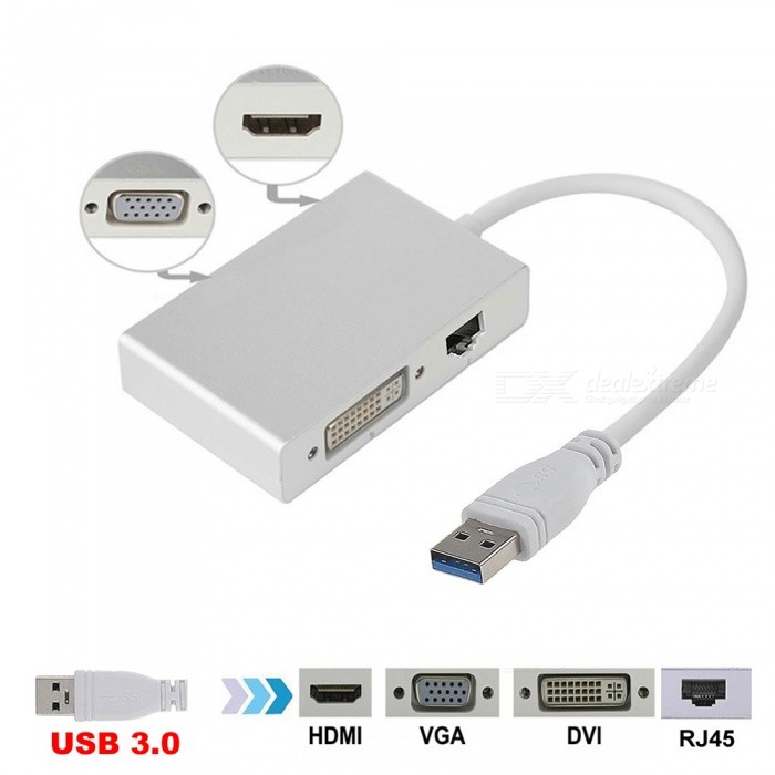 Cwxuan 4-in-1 USB 3.0 to 1080p HDMI / VGA / DVI / RJ45 Ethnernet Cconverter Adapter