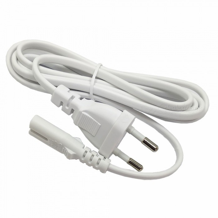 2.5A 250V Figure Eight EU Plug Copper Core Power Cable for Household Appliance - White (150cm)