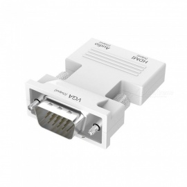 Cwxuan HDMI to VGA/3.5 mm Audio Jack Converter Adapter, Female to Male, Support HD Audio Video 1080P Signal Output