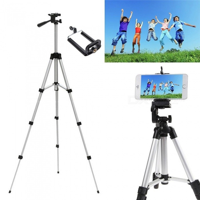 Lightweight Universal Three-way Tripod for DV Camera + Cell Phone Clip Holder