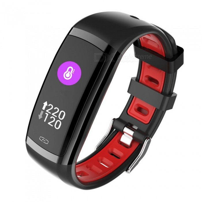 CD09 Color Screen Smart Bluetooth Bracelet w/ Continuous Heart Rate Monitoring, Blood Pressure Monitor, IP67 Waterproof - Red