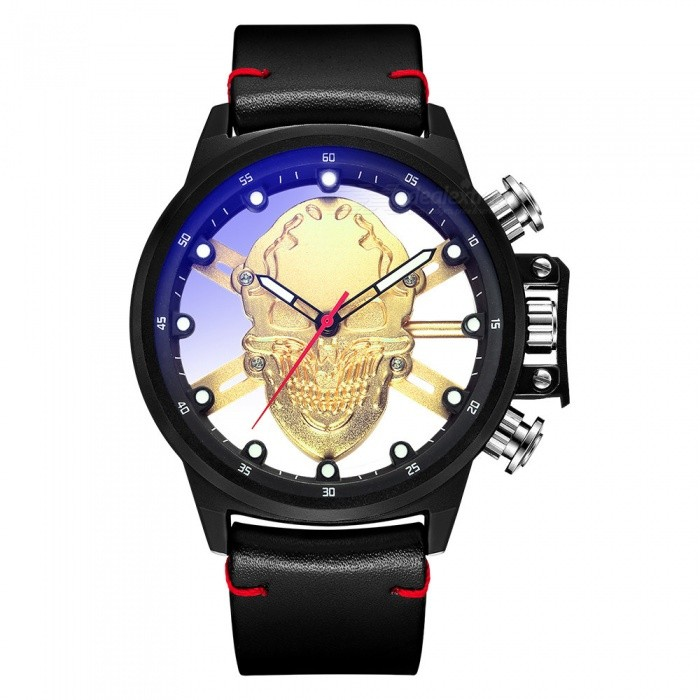 MUNITI 1021G Men's Quartz Watch Cool Skull Style Big Dial Waterproof PU Leather Band Punk Style Watch - Black + Golden for sale for the best price on Gipsybee.com.