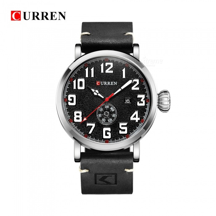Buy CURREN 8283 Fashion Men's Quartz Analog PU Band Wrist Watch - Black + Silver with Litecoins with Free Shipping on Gipsybee.com