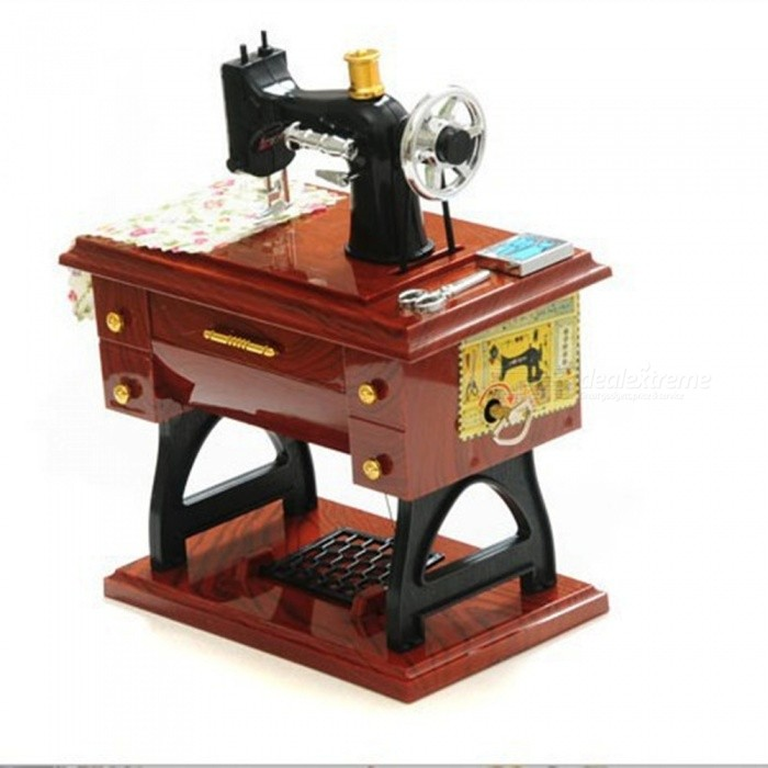 Antique Sewing Machine Style Music Box Home Decoration