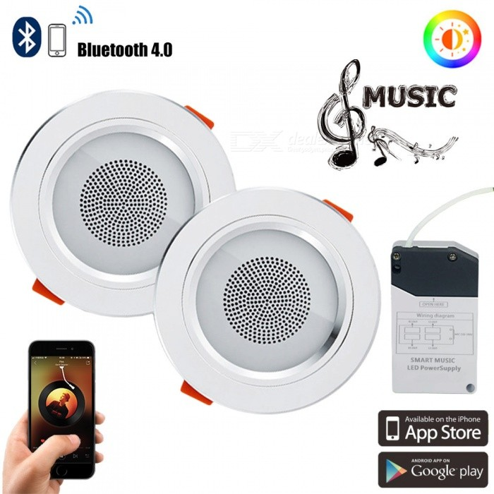 YouOKLight 2Pcs Smart Bluetooth Music LED Ceiling Downlights, 7.5W RGBW Dimmable LED Down Light w/ APP Control, 100-240V
