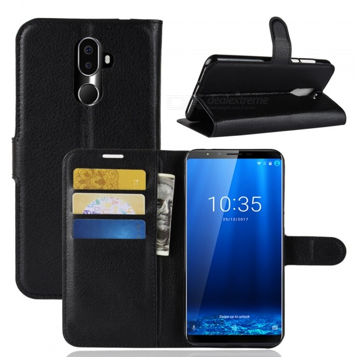 Buy PU Leather Full Cover Wallet Phone Case for Cubot X18 Plus - Black with Litecoins with Free Shipping on Gipsybee.com