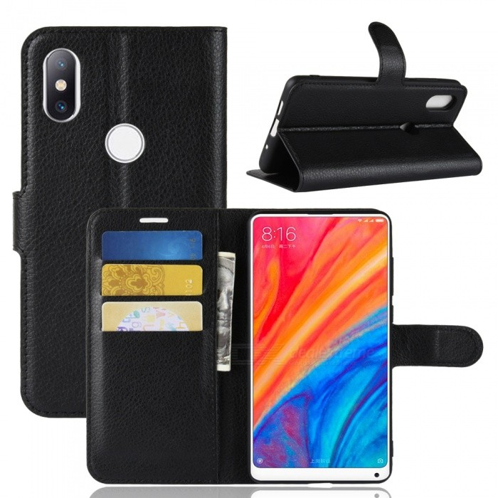 Durable Back Buckle Flip PU Leather Wallet Case for Xiaomi Mi Mix 2S - Black