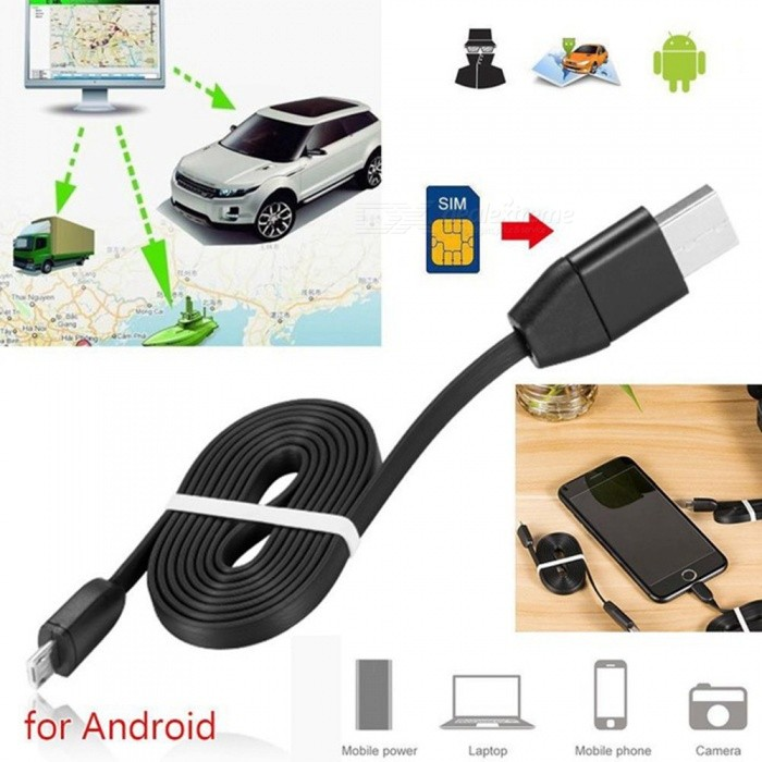 ESAMACT Remote Tracking USB Data Cable, Miniature Anti-lost Tracker, Vehicle Car GPS Locator for Android