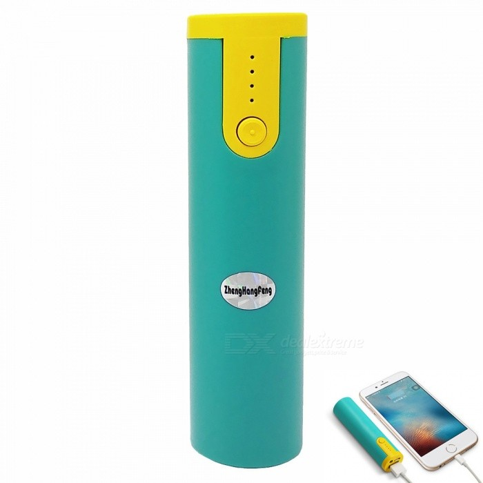 Buy 2600mAh Cylindrical Shaped Power Bank with LED Power Indicator, LED for Table, IPHONE X / 8, Samsung - Green + Yellow with Litecoins with Free Shipping on Gipsybee.com