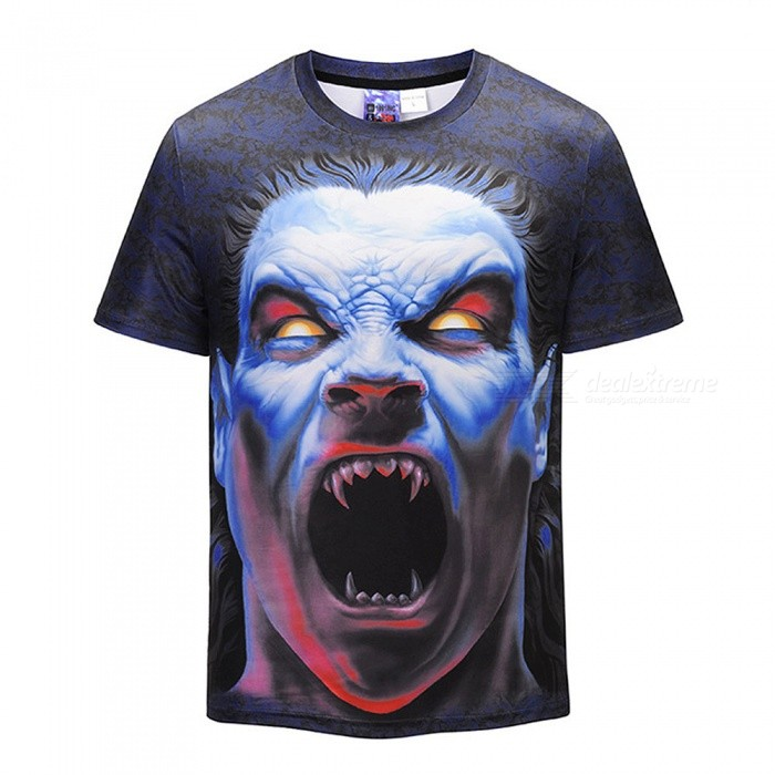 3D Kuso Zombie Pattern Fashion Short-Sleeved T-Shirt for Men
