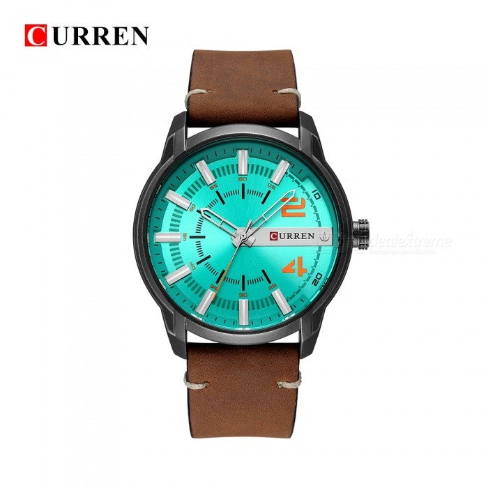 Buy CURREN 8306 Large Round Dial Fashion Quartz Analog PU Band Wrist Watch - Green + Orange with Litecoins with Free Shipping on Gipsybee.com