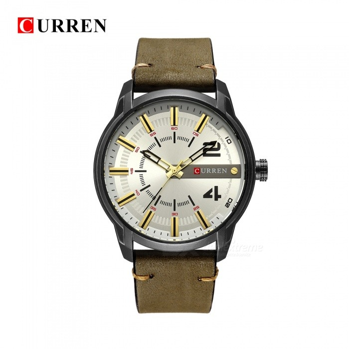 Buy CURREN 8306 Large Round Dial Fashion Quartz Analog PU Band Wrist Watch - Green + White with Litecoins with Free Shipping on Gipsybee.com